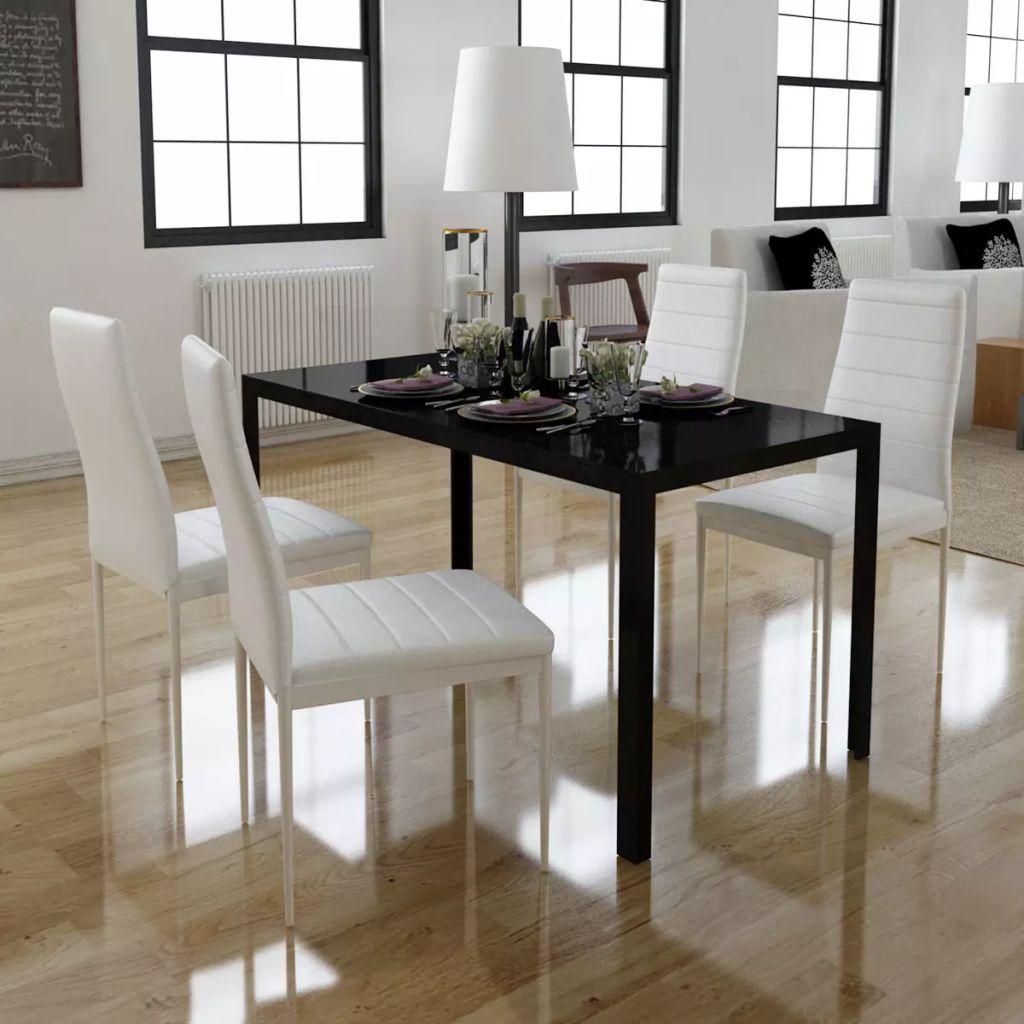 5tlg. Esstisch Set Schwarz und weiß