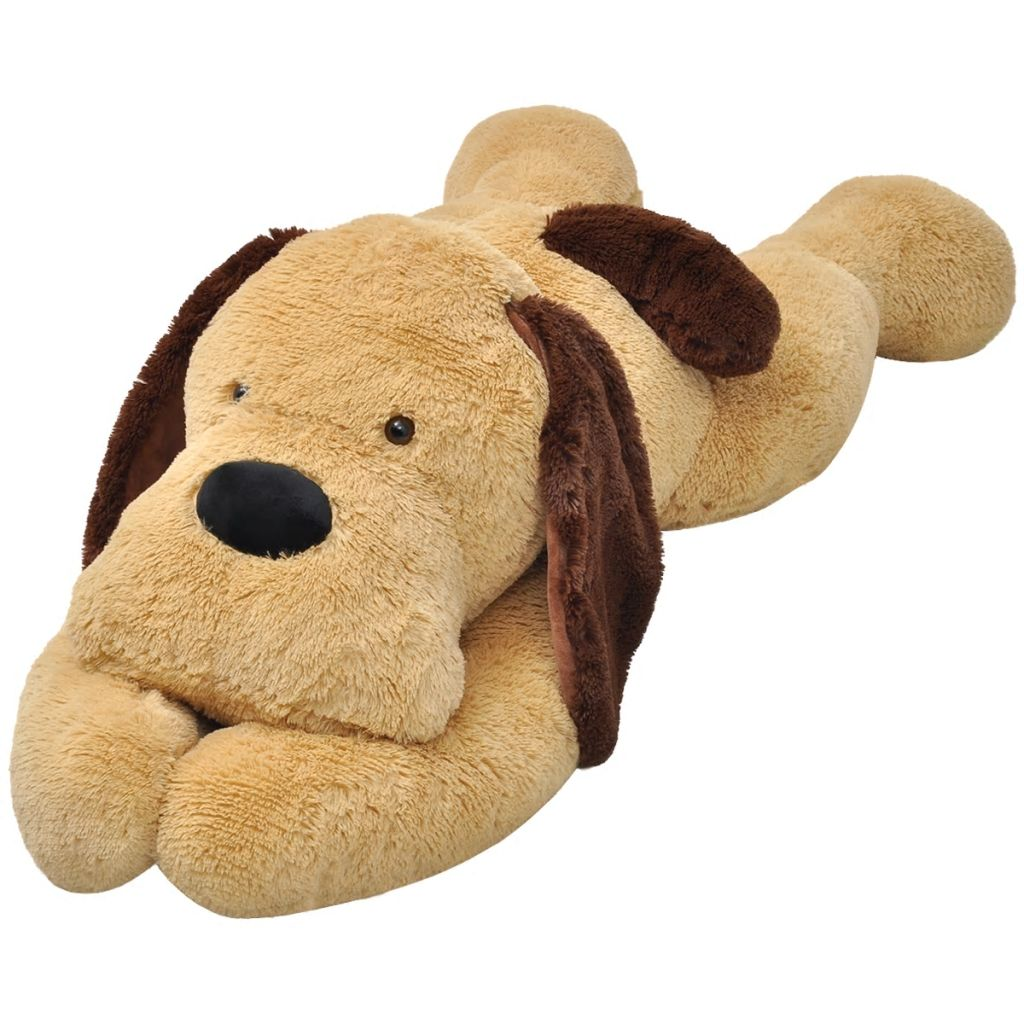 Hund Stofftier Plüsch Braun 80 cm