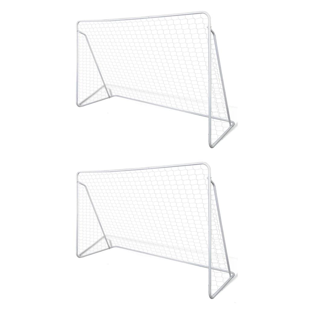 Fußball-Tornetze 2 Stück 240 x 90 x 150 cm Stahl