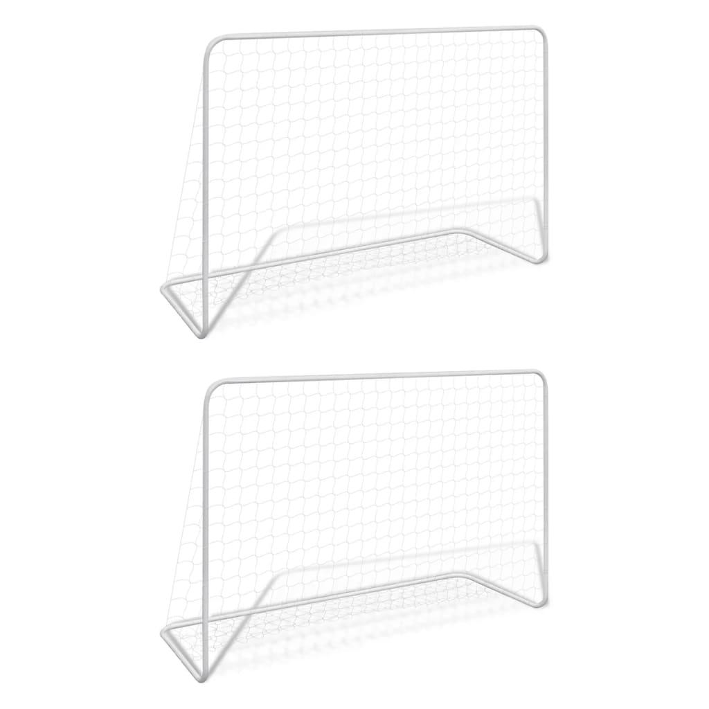 Fußballtore 2 Stk. mit Netzen 182×61×122 cm Stahl Weiß