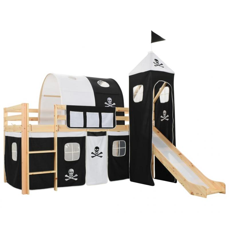 Kinderhochbett-Rahmen mit Rutsche & Leiter Kiefernholz 97x208cm