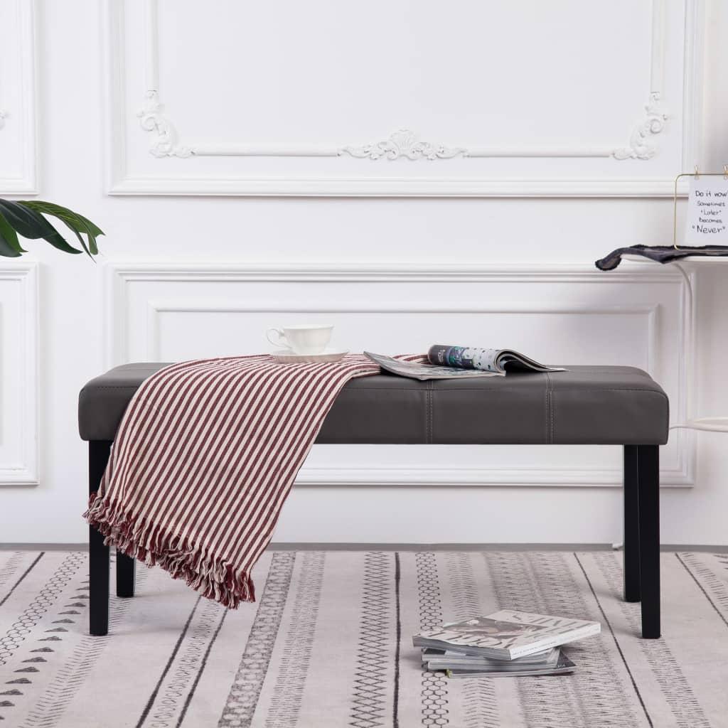 Sitzbank 106 cm Grau Kunstleder