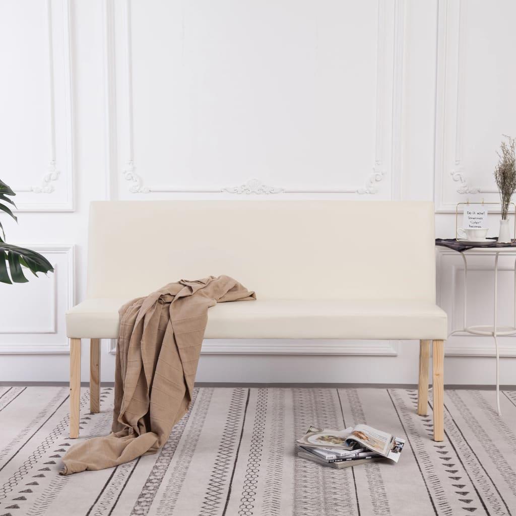 Sitzbank 139,5 cm Cremeweiß Kunstleder
