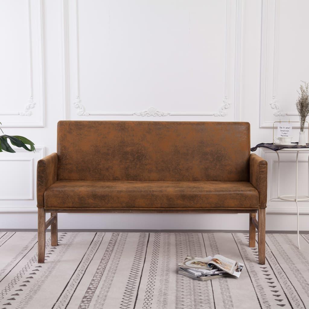 Sitzbank mit Armlehnen 140 cm Braun Wildleder-Optik