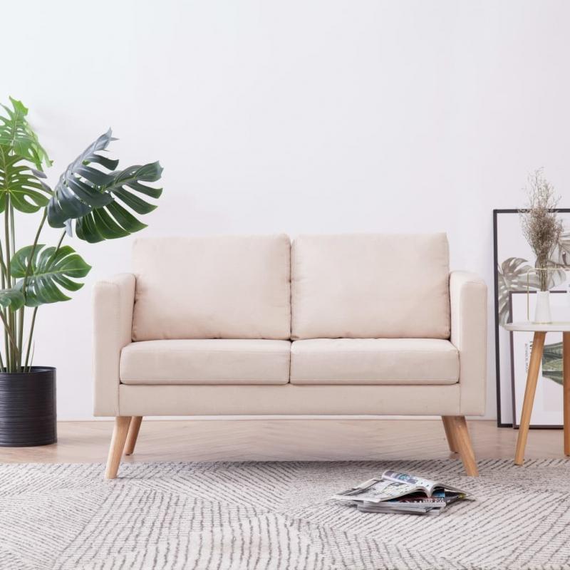 2-Sitzer-Sofa Stoff Cremeweiß