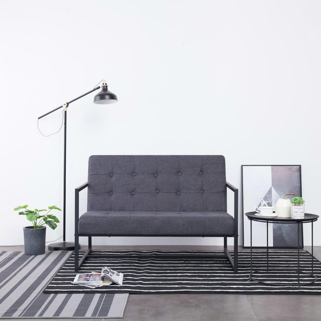 2-Sitzer-Sofa mit Armlehnen Dunkelgrau Stahl und Stoff