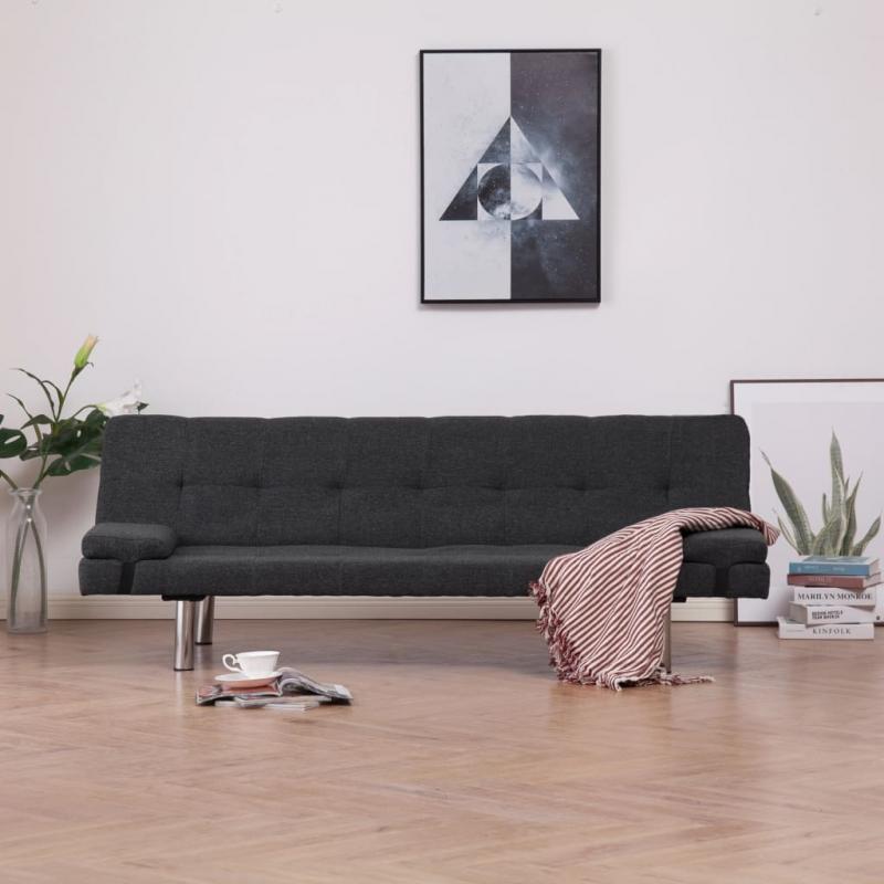 Schlafsofa mit zwei Kissen Dunkelgrau Polyester