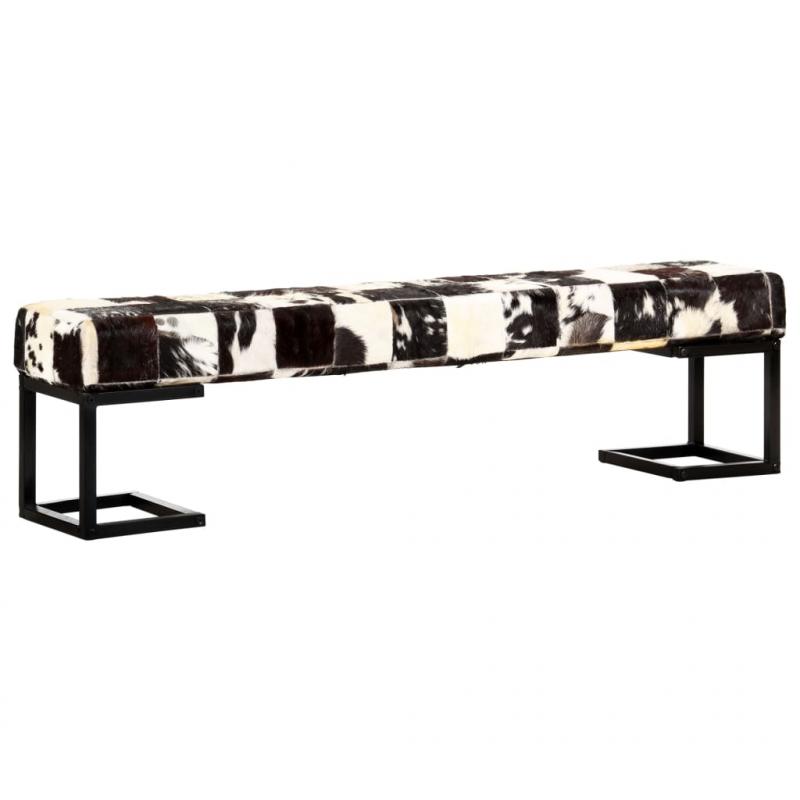 Sitzbank 160 cm Schwarz Patchwork Echtes Ziegenleder