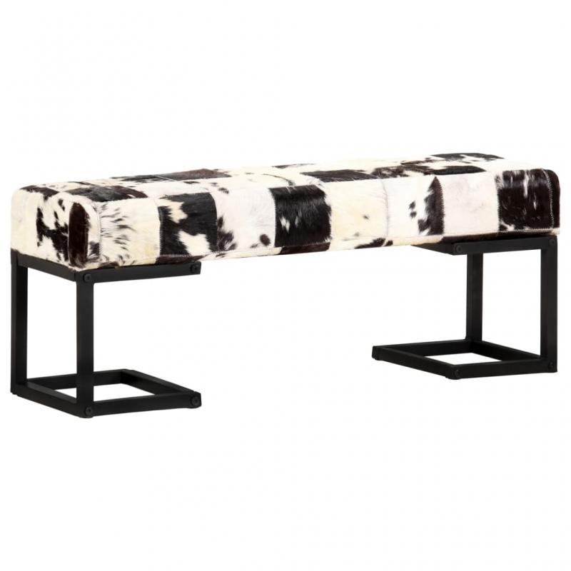 Sitzbank 110 cm Schwarz Patchwork Echtes Ziegenleder