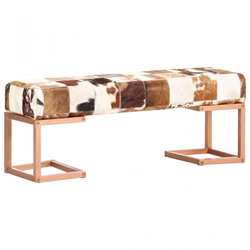Sitzbank 110 cm Braun Patchwork Echtes Ziegenleder
