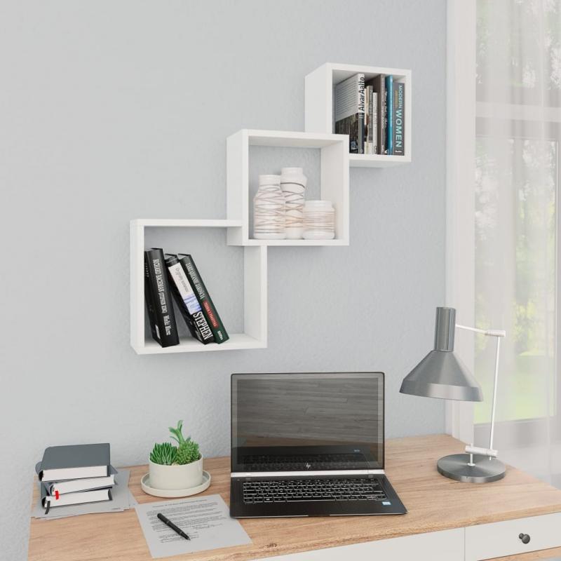 Cube Wandregale Weiß 84,5×15×27 cm Spanplatte