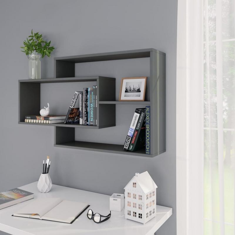 Wandregale Grau 104×24×60 cm Spanplatte