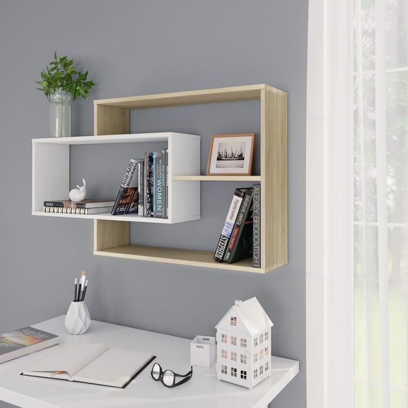 Wandregale Weiß Sonoma-Eiche 104×24×60 cm Spanplatte