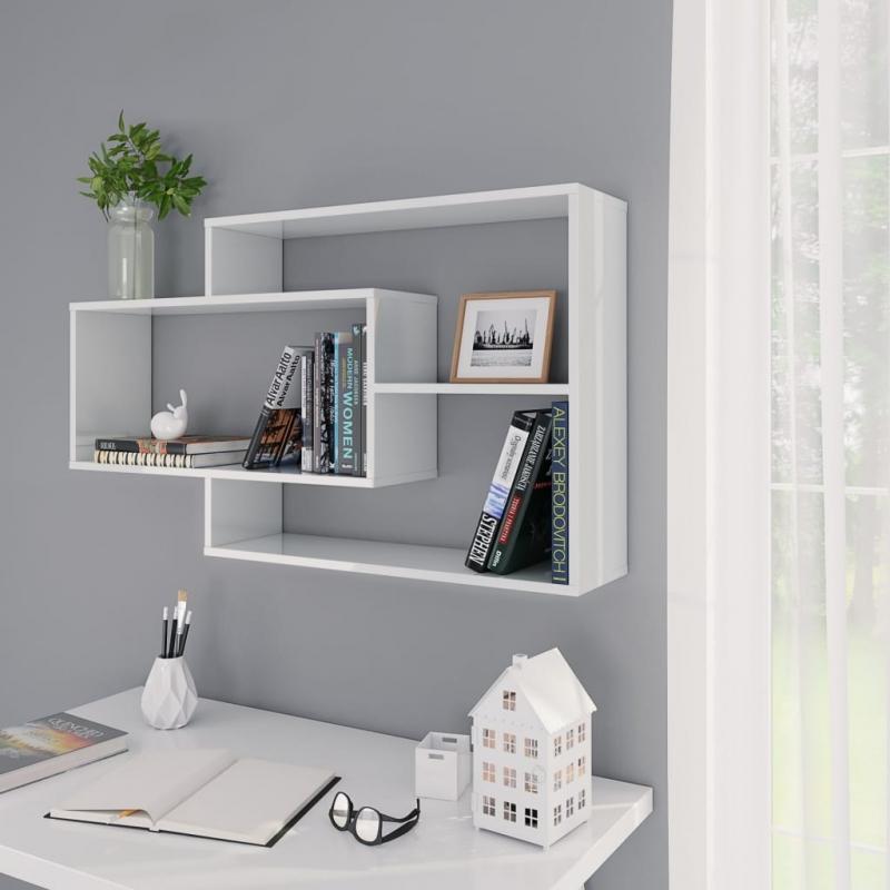 Wandregale Hochglanz-Weiß 104×24×60 cm Spanplatte