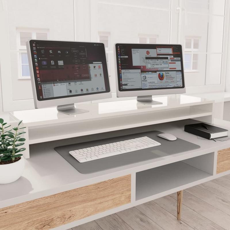 Monitorständer Hochglanz-Weiß 100×24×13 cm Spanplatte