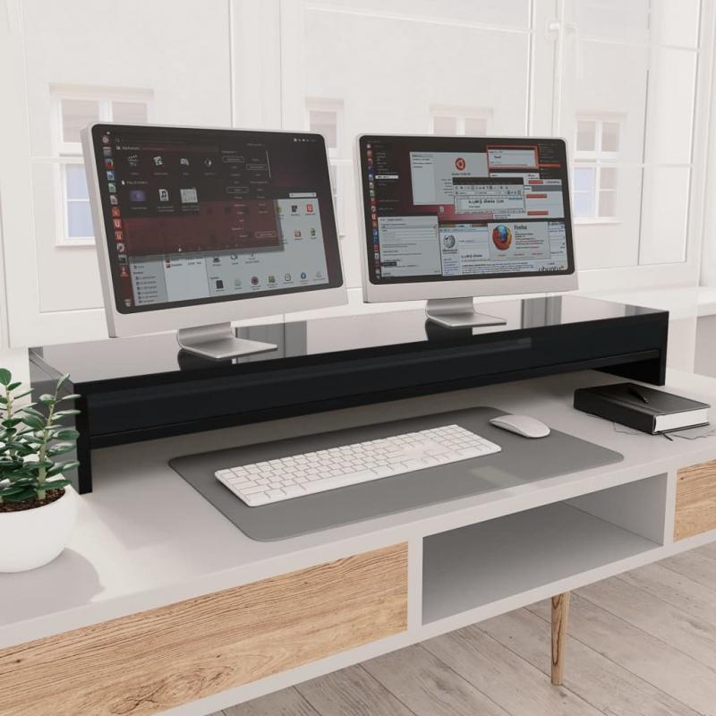 Monitorständer Hochglanz-Schwarz 100×24×13 cm Spanplatte