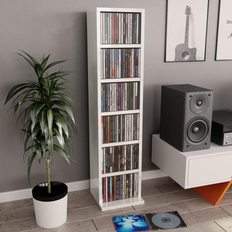 CD-Schrank Hochglanz-Weiß 21x20x88 cm Spanplatte