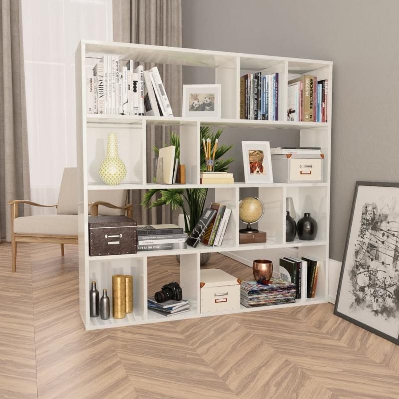 Raumteiler/Bücherregal Hochglanz-Weiß 110×24×110 cm Spanplatte