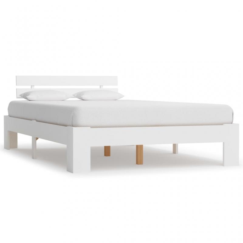 Bettgestell Weiß Massivholz Kiefer 120 × 200 cm