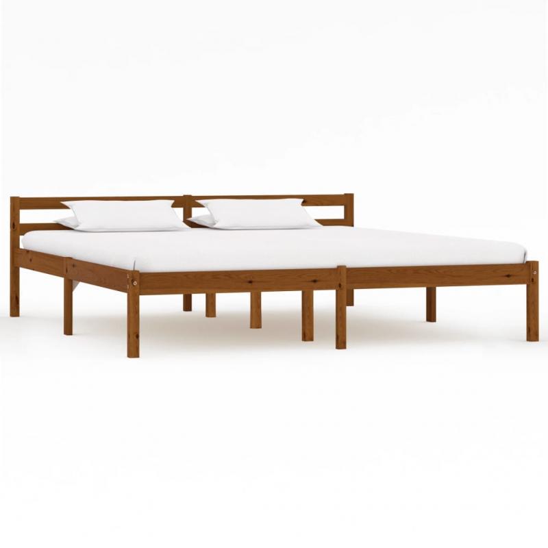 Bettgestell Honigbraun Massivholz Kiefer 160×200 cm
