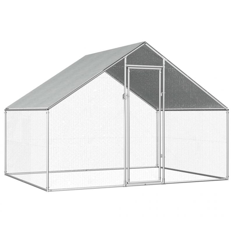 Outdoor-Hühnerkäfig 2,75×2×1,92 m Verzinkter Stahl
