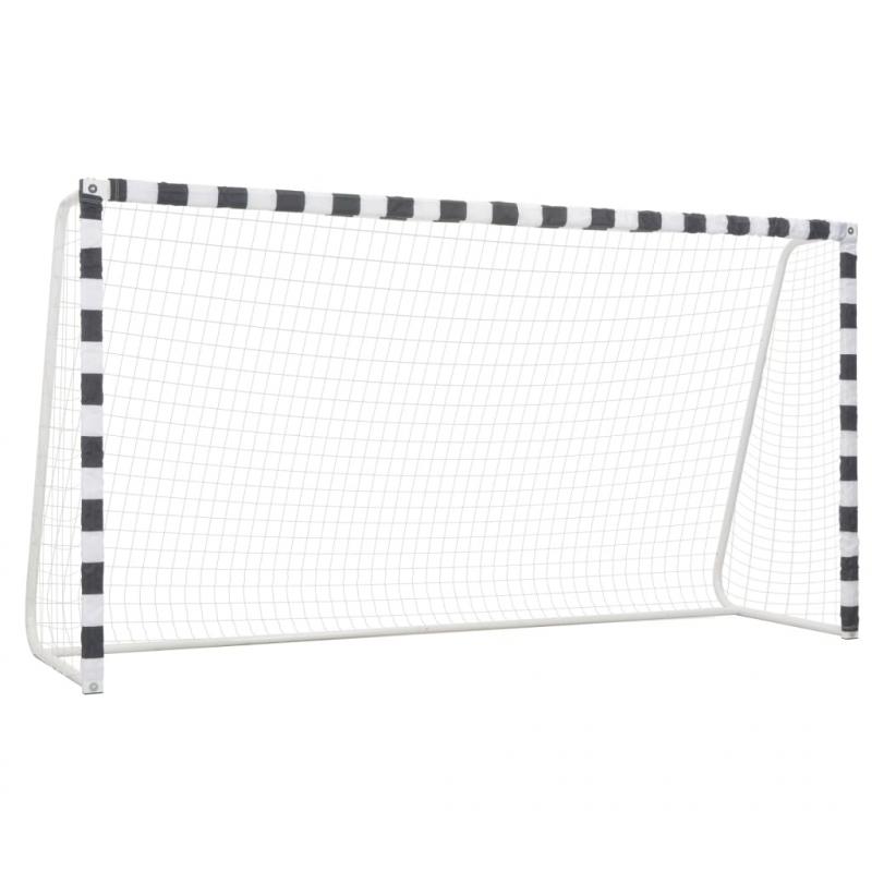 Fußballtor 300 x 160 x 90 cm Metall Schwarz und Weiß