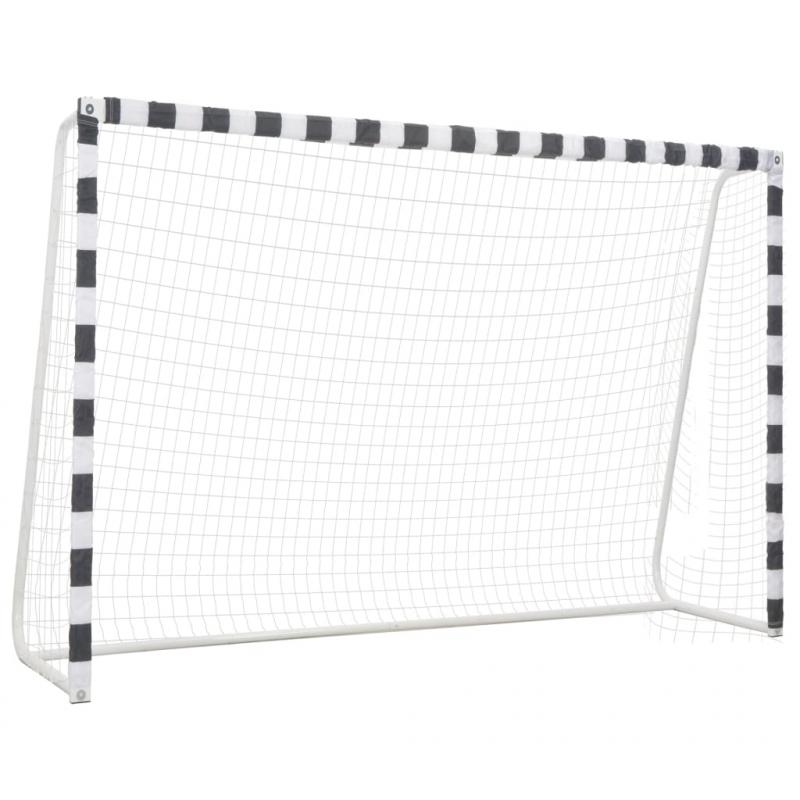Fußballtor 300 x 200 x 90 cm Metall Schwarz und Weiß