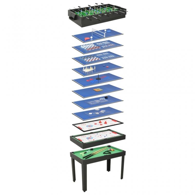 15-in-1 Multigame-Tisch 121×61×82 cm Schwarz