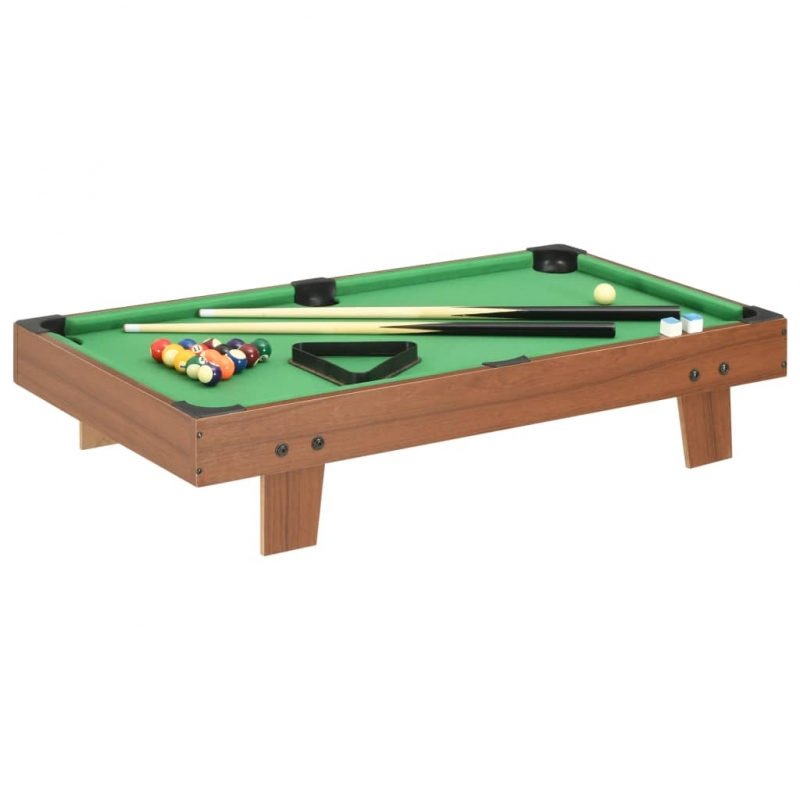 3-Fuß-Mini-Billardtisch 92×52×19 cm Braun und Grün