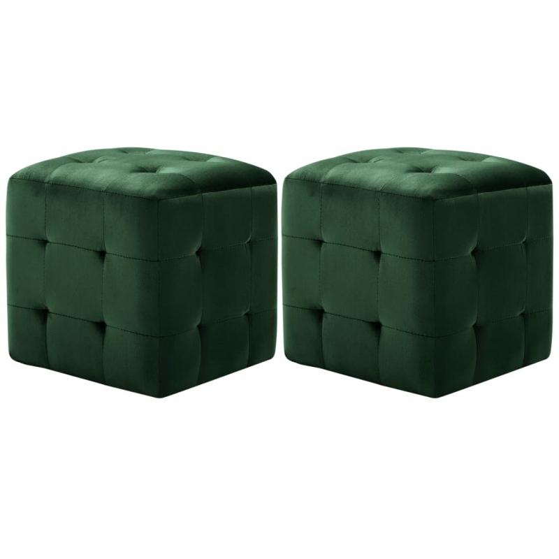 Pouf 2 Stk. Grün 30x30x30 cm Samtstoff