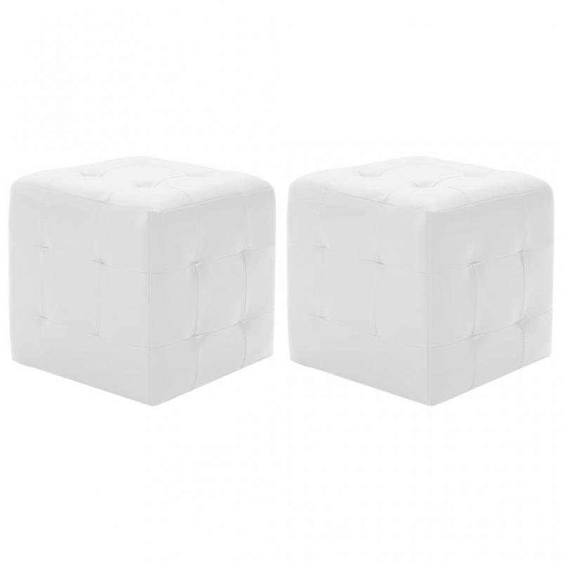 Pouf 2 Stk. Weiß 30x30x30 cm Kunstleder