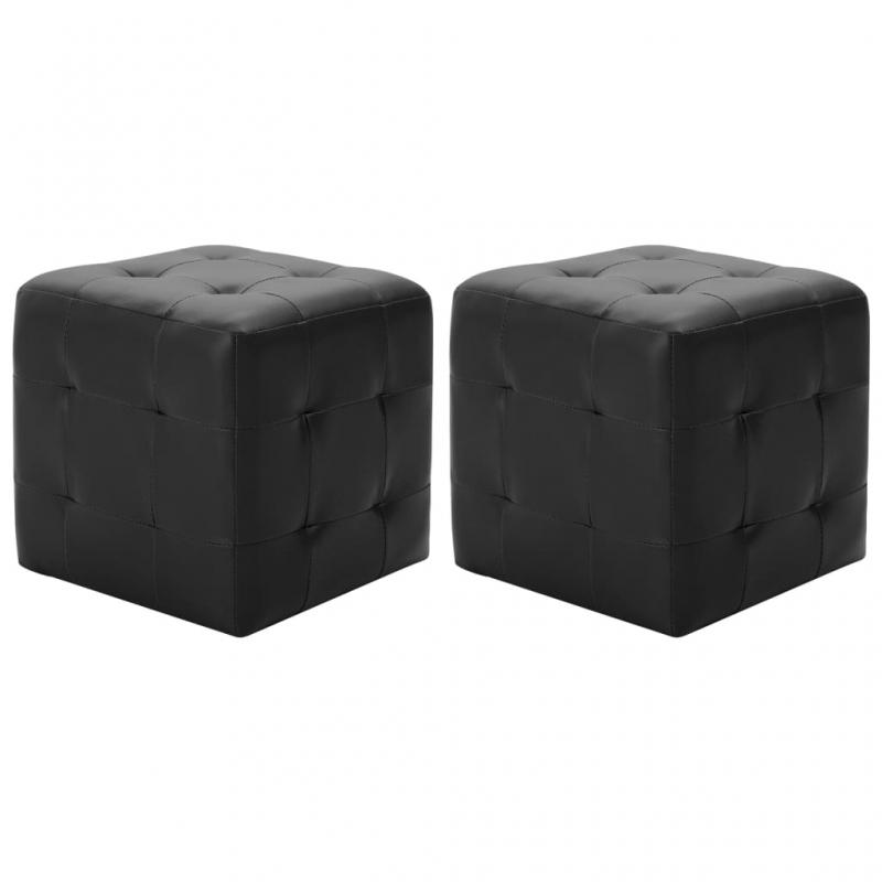 Pouf 2 Stk. Schwarz 30x30x30 cm Kunstleder