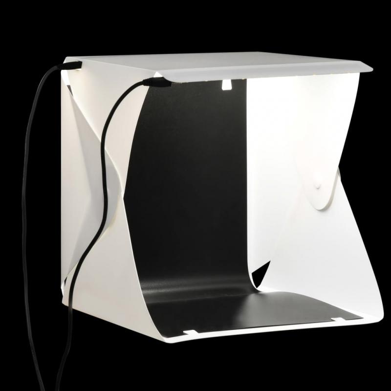 LED-Lichtbox für Fotostudio Klappbar 23×25×25 cm Weiß