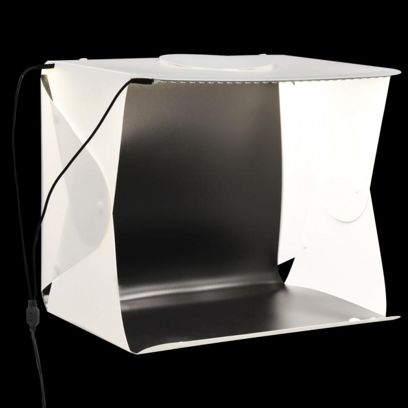LED-Lichtbox für Fotostudio Klappbar 40×34×37 cm Plastik Weiß