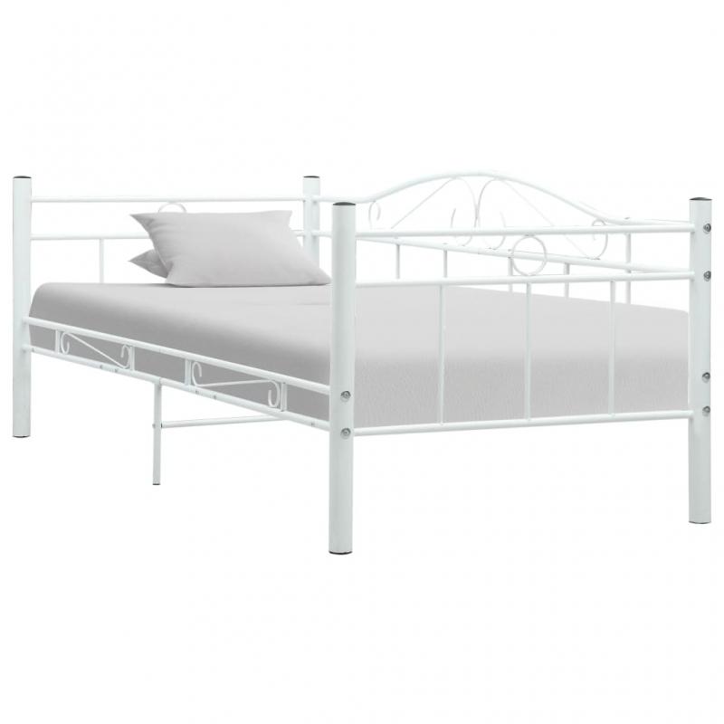 Tagesbett-Rahmen Weiß Metall 90×200 cm