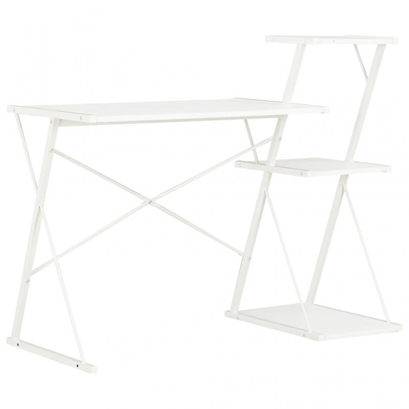 Schreibtisch mit Regal Weiß 116×50×93 cm