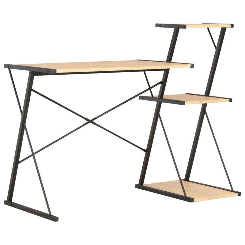 Schreibtisch mit Regal Schwarz und Eiche 116×50×93 cm