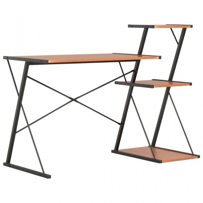 Schreibtisch mit Regal Schwarz und Braun 116×50×93 cm