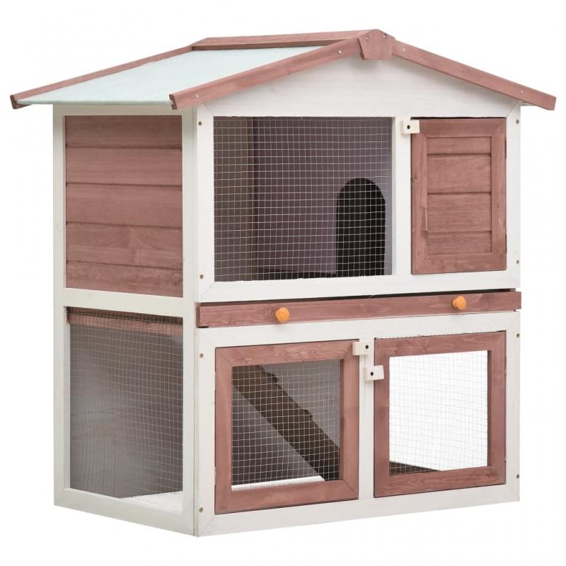 Kaninchenstall 3 Türen Braun Holz