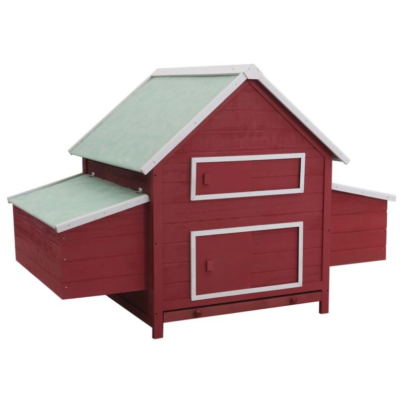 Hühnerstall Rot 157 x 97 x 110 cm Holz