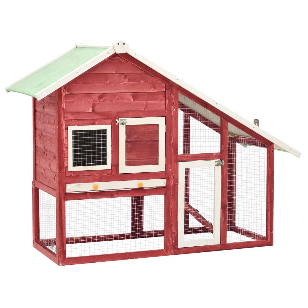 Kaninchenstall Rot und Weiß 140x63x120 cm Tanne Massivholz
