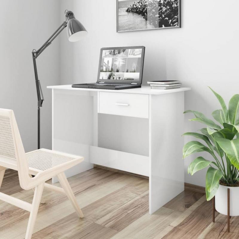 Schreibtisch Hochglanz-Weiß 100×50×76 cm Spanplatte