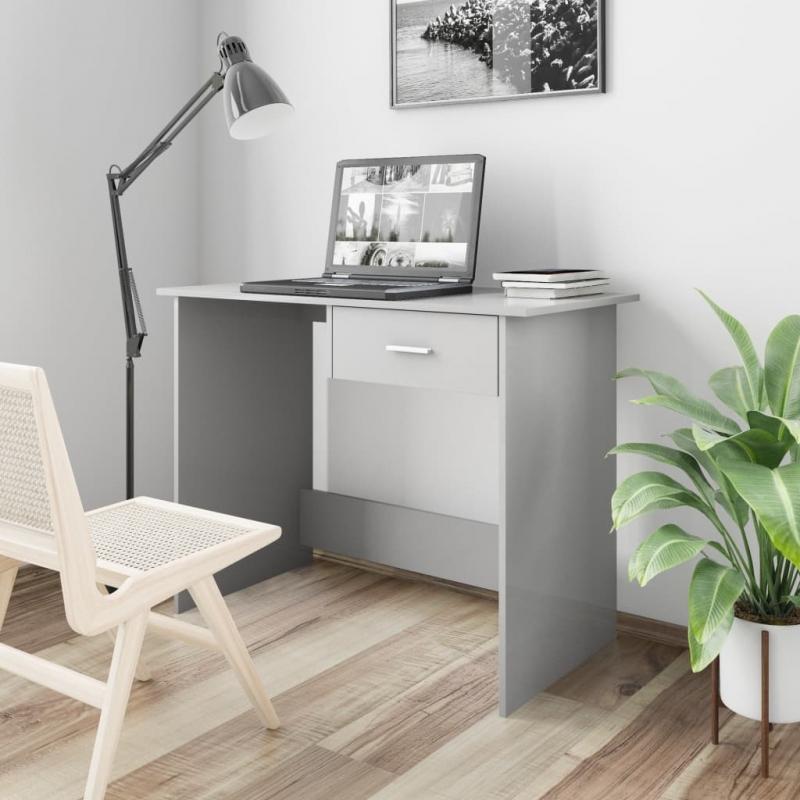 Schreibtisch Hochglanz-Grau 100×50×76 cm Spanplatte