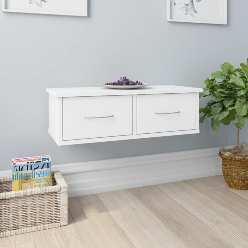 Wand-Schubladenregal Weiß 60x26x18,5 cm Spanplatte