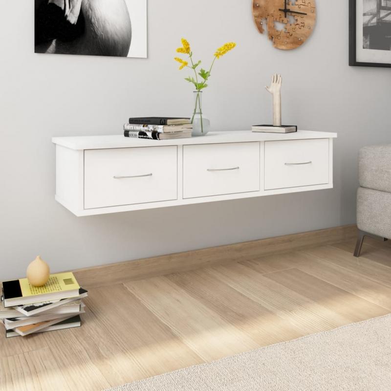 Wand-Schubladenregal Weiß 88x26x18,5 cm Spanplatte