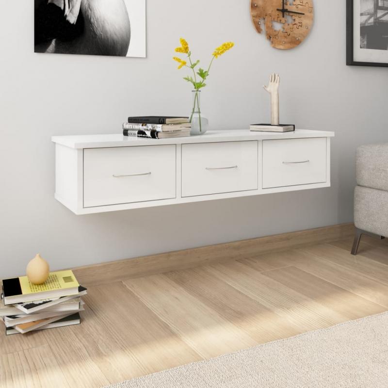 Wand-Schubladenregal Hochglanz-Weiß 88x26x18,5 cm Spanplatte