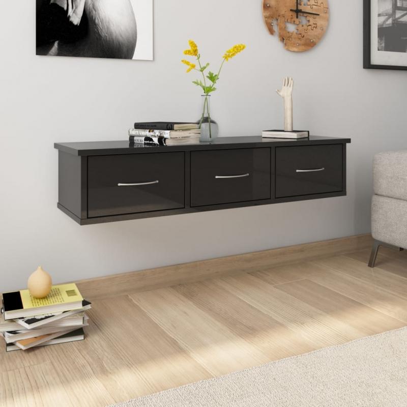 Wand-Schubladenregal Hochglanz-Schwarz 88x26x18,5 cm Spanplatte