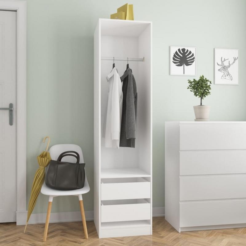 Kleiderschrank mit Schubladen Weiß 50×50×200 cm Spanplatte