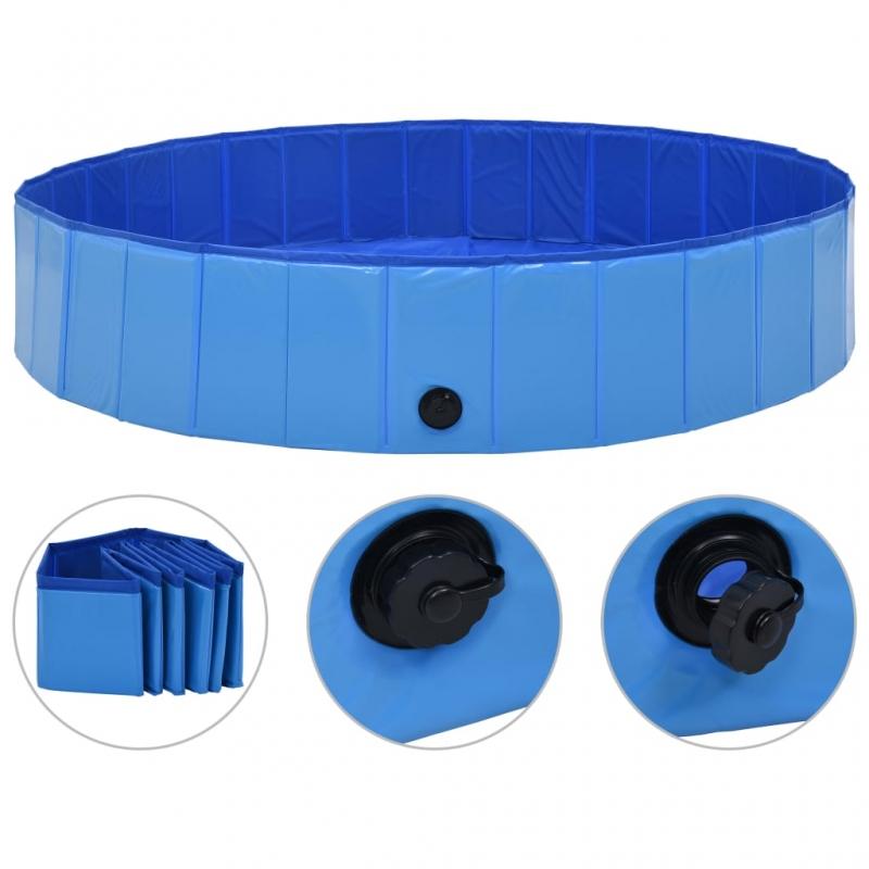 Hundepool Faltbar Blau 160 x 30 cm PVC