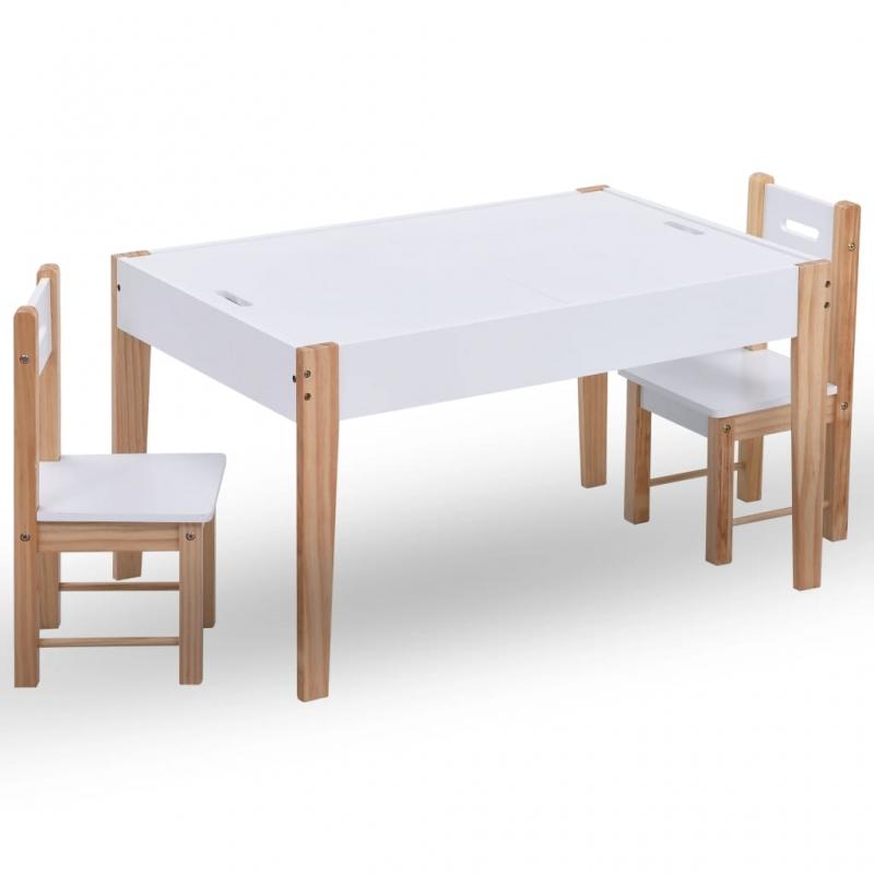 3-tlg. Kinder-Kreidetafel-Tisch und Stuhl-Set Schwarz und Weiß